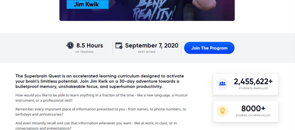 Jim Kwiks Superbrain Courses Detail