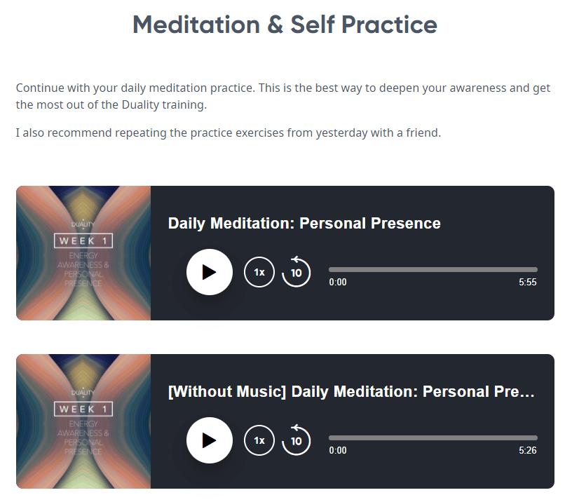 Jeffery Allen Duality Course - Meditation