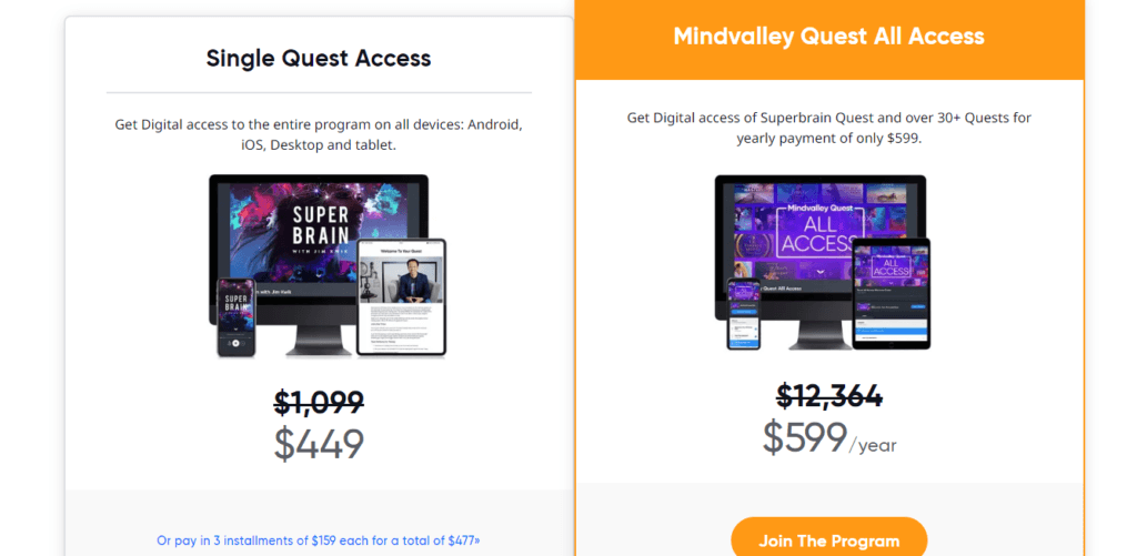 MindValley Quest All Access Pricing