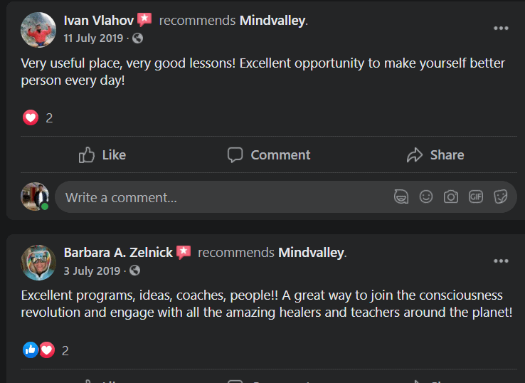 MindValley Facebook Reviews