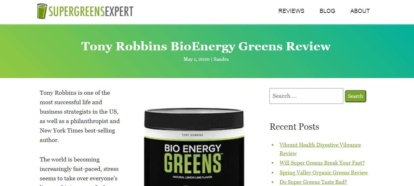 Customer Review - Tony Robbins Greens Drink