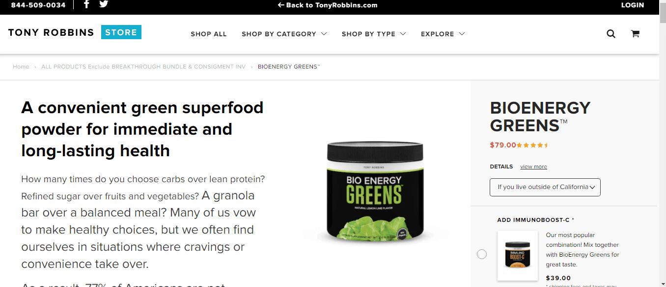 Bioenergy Greens - Tony Robbins Greens Drink