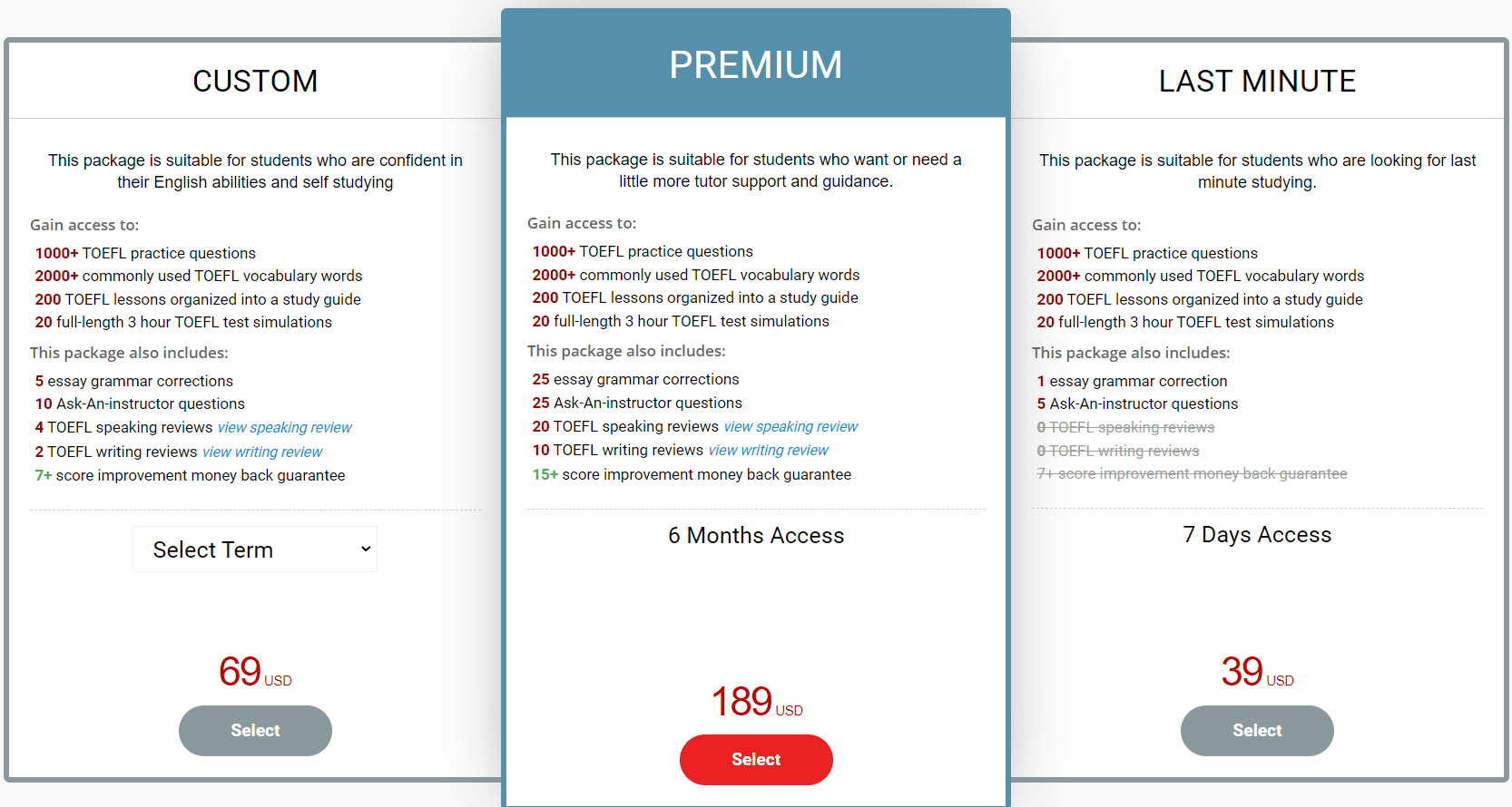 BestMyTest TOEFL Pricing