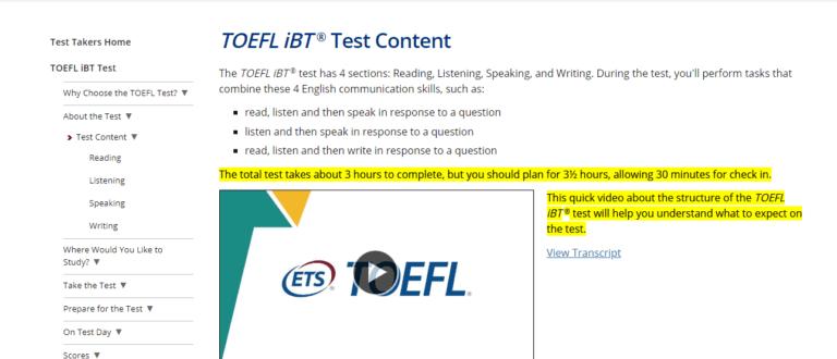 How Long is TOEFL Test