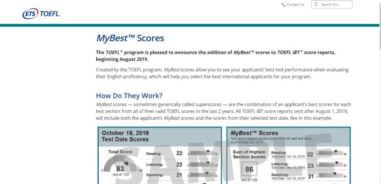 What is a Good Toefl Score - My Best Score