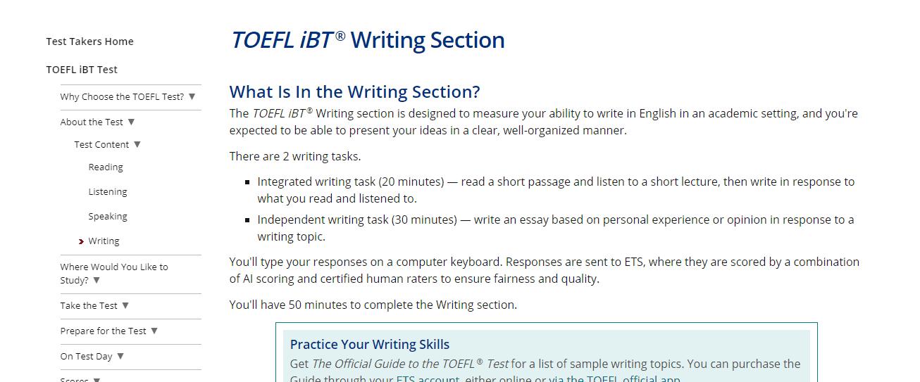 Toefl Writing Section