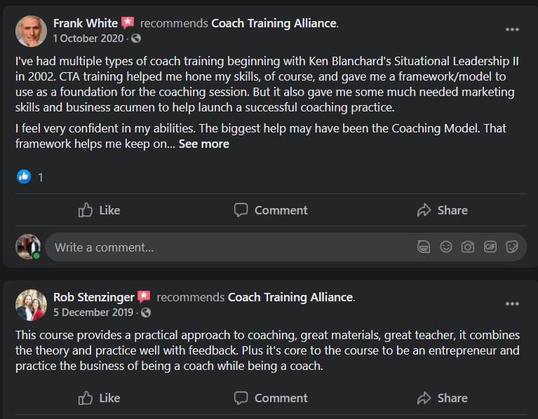 Coach alliance testimonial facebook 1