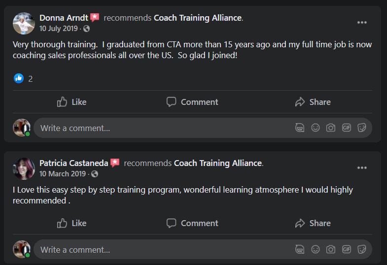 Coach alliance testimonial facebook 2