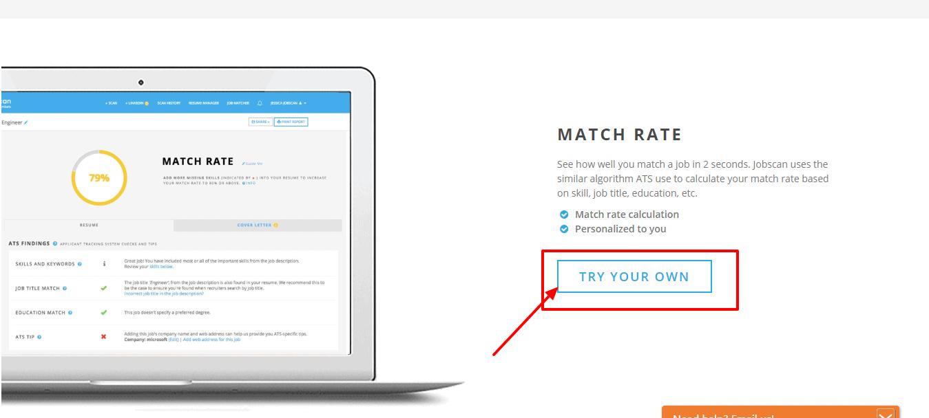 Jobscan Match rate