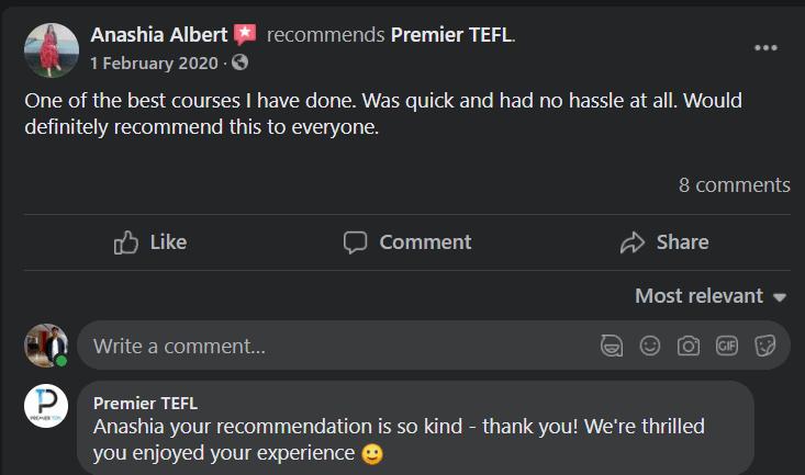 Premier TEFL Real User Review 3