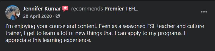 Premier TEFL Real User Review 4