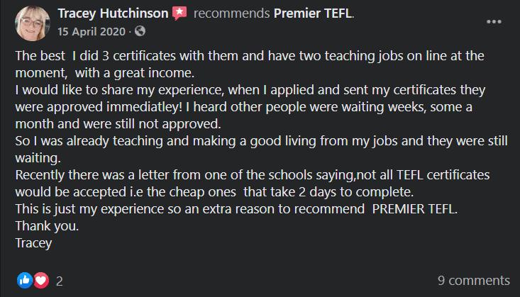 Premier TEFL User Feedback