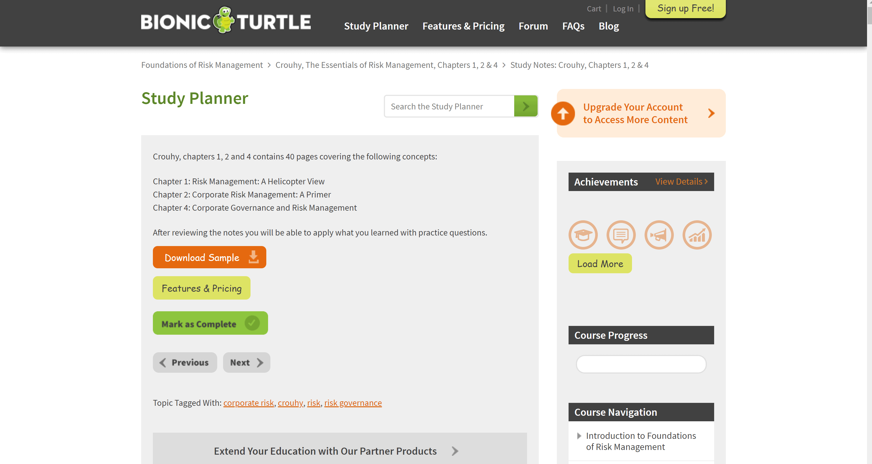 bionic turtle FRM Study Planner