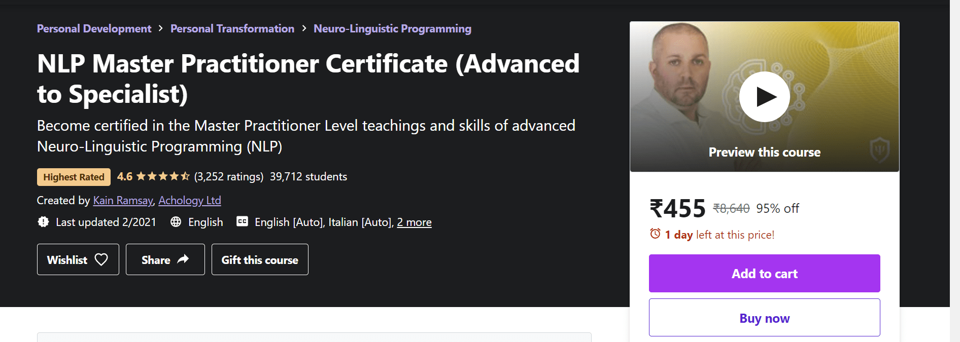Best Best NLP Training Courses - NLP Master Practitioner Certificate (Advance to Specialist)