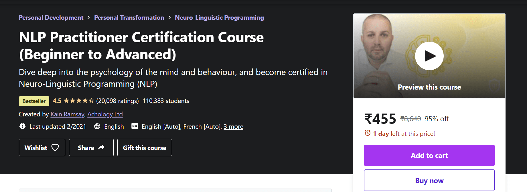 Best Best NLP Training Courses - NLP Practitioners Certification Course (Beginners to Advanced)