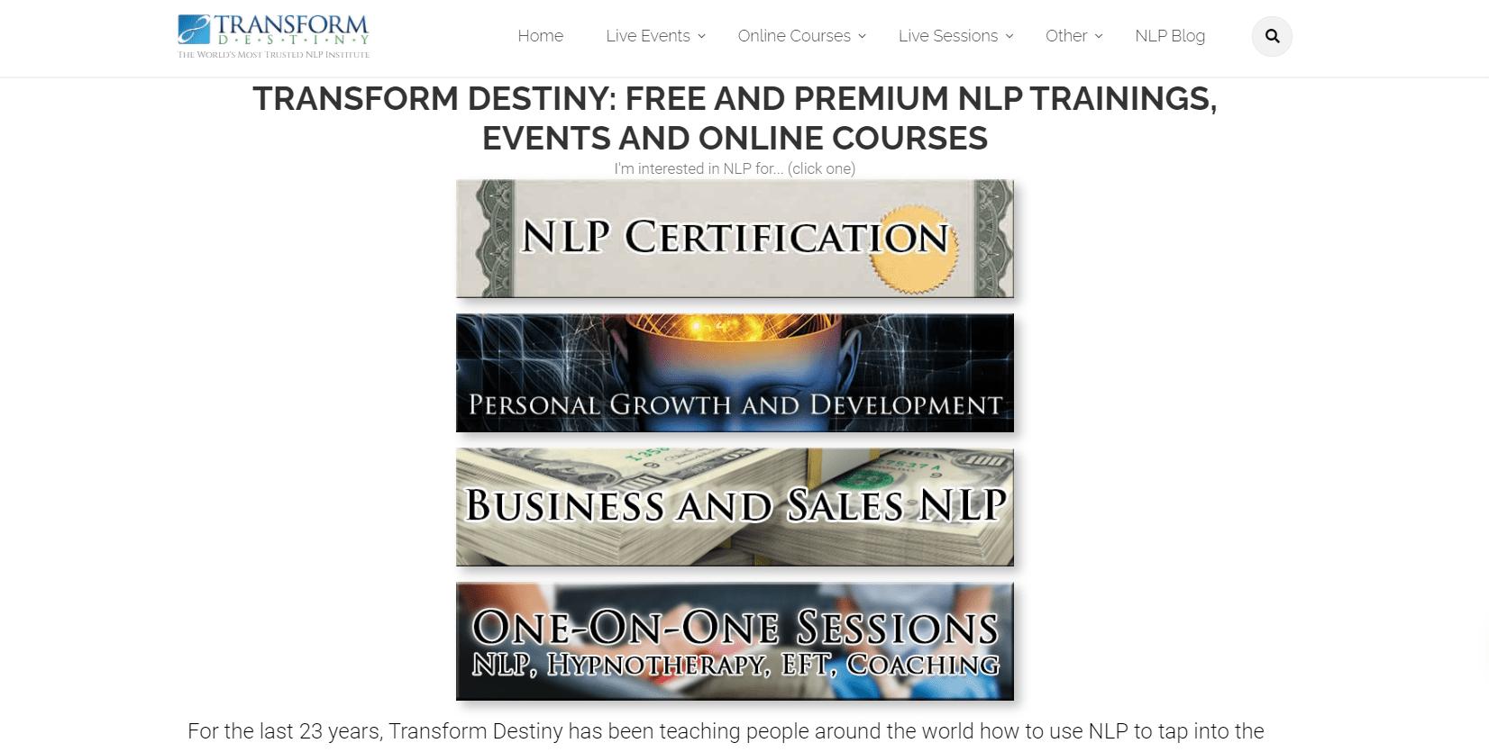 Best Best NLP Training Courses - Transform Destiny