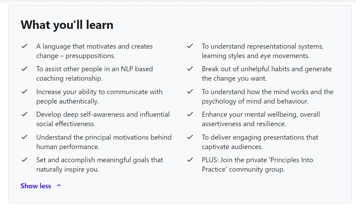 take-aways from NLP Practitioners Certification Course (Beginners to Advanced)