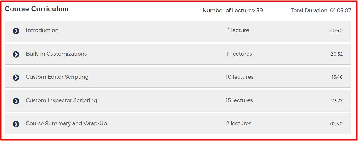 Unity Course Curriculum