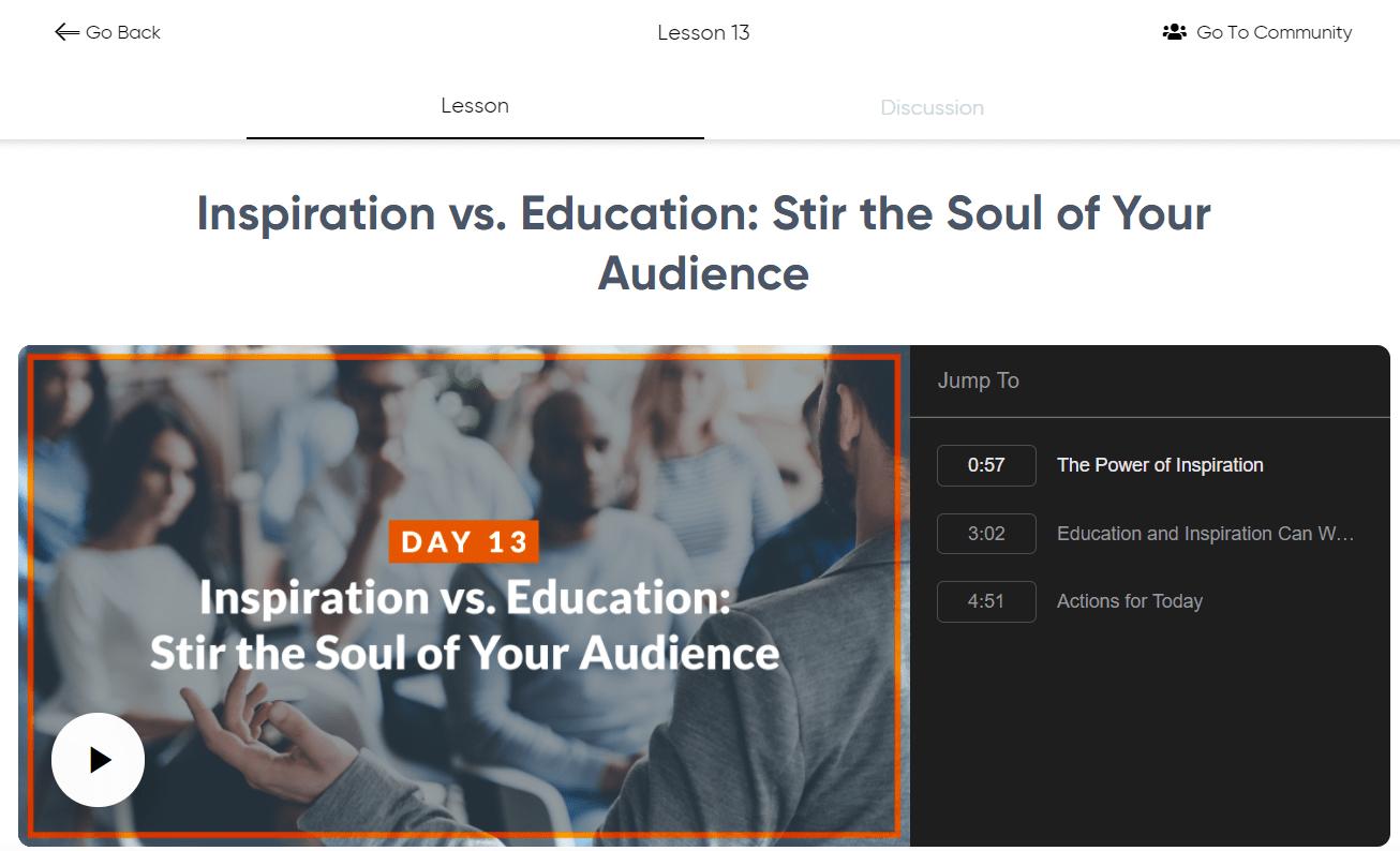 Speak and Inspire - Inspire vs Education
